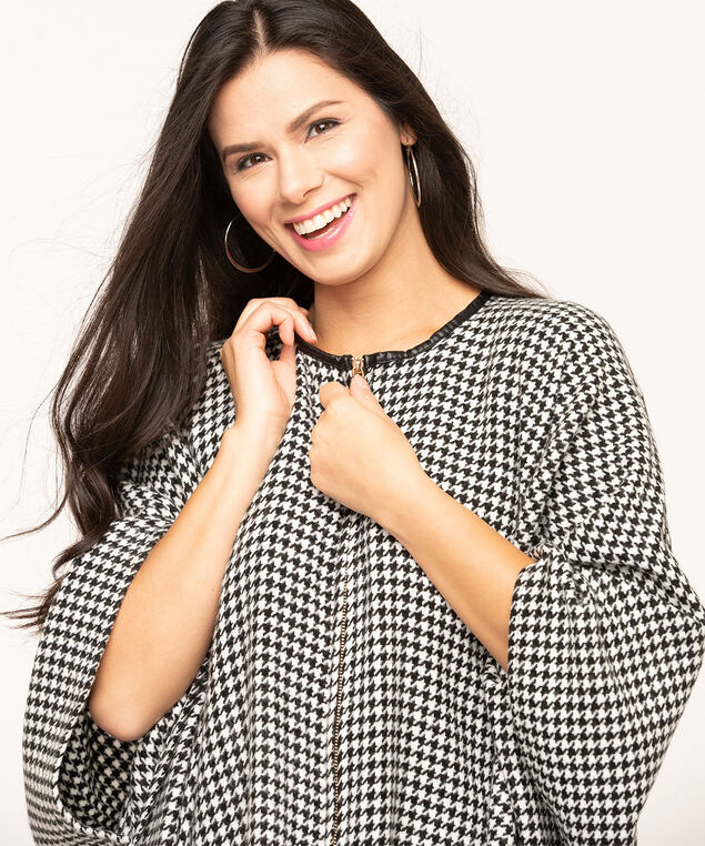 Houndstooth Zipper Front Poncho, Black/White, hi-res