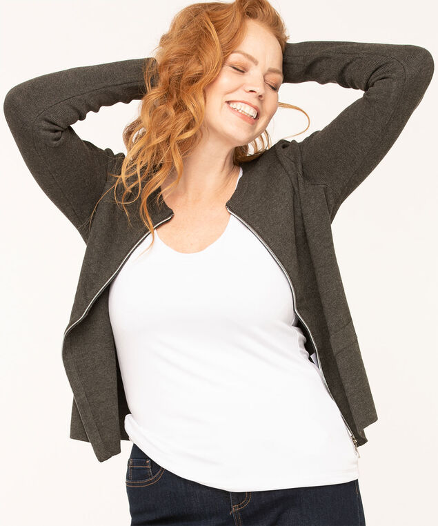 Long Sleeve Zip Front Cardigan, Charcoal, hi-res
