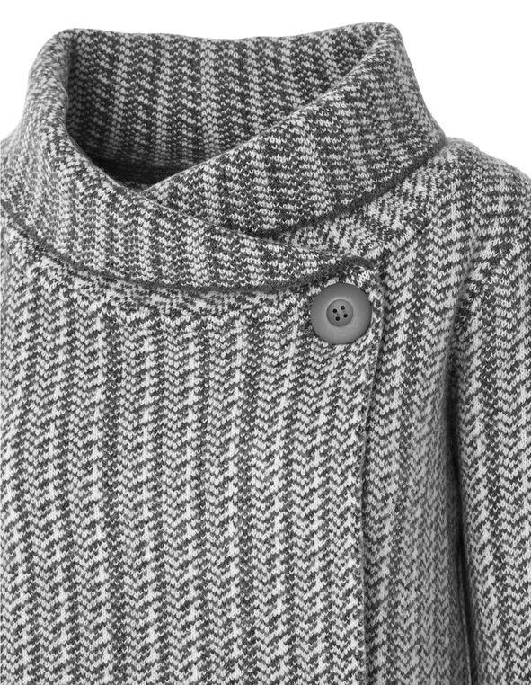 Grey Roll Neck Sweater Coat, Grey, hi-res