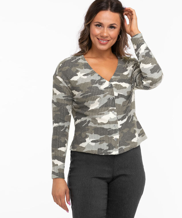 Camo Waffle Knit Button Front Top, Camo