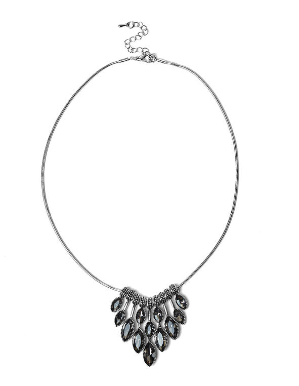 Black Diamond Statement Necklace, Black, hi-res