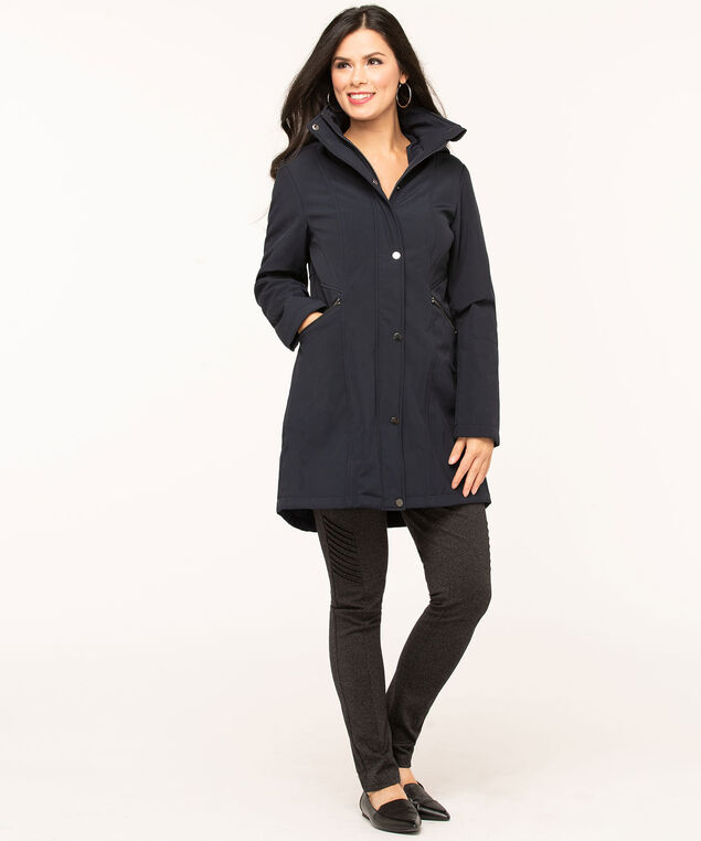 Navy Soft Shell Seamed Jacket, Navy, hi-res