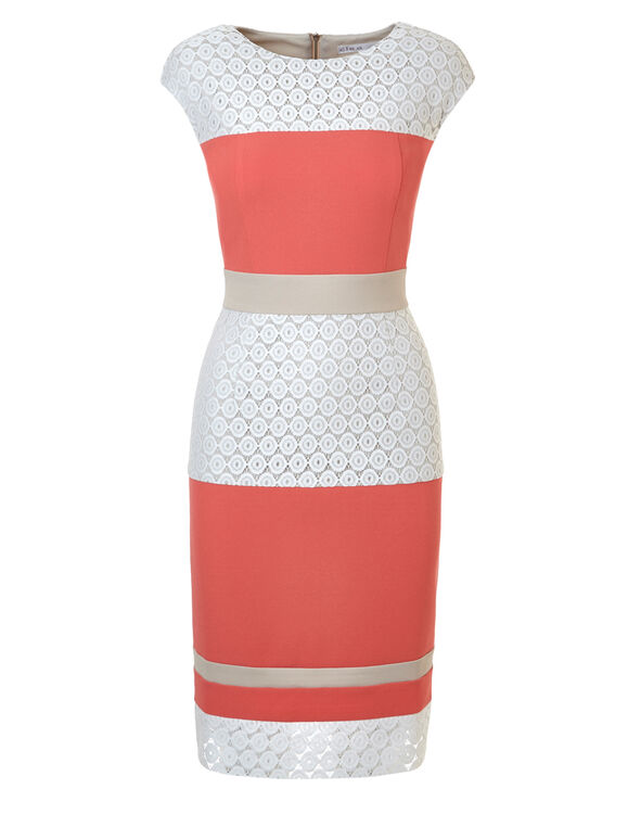 Coral Striped Sheath Dress, Coral/Nude/White, hi-res