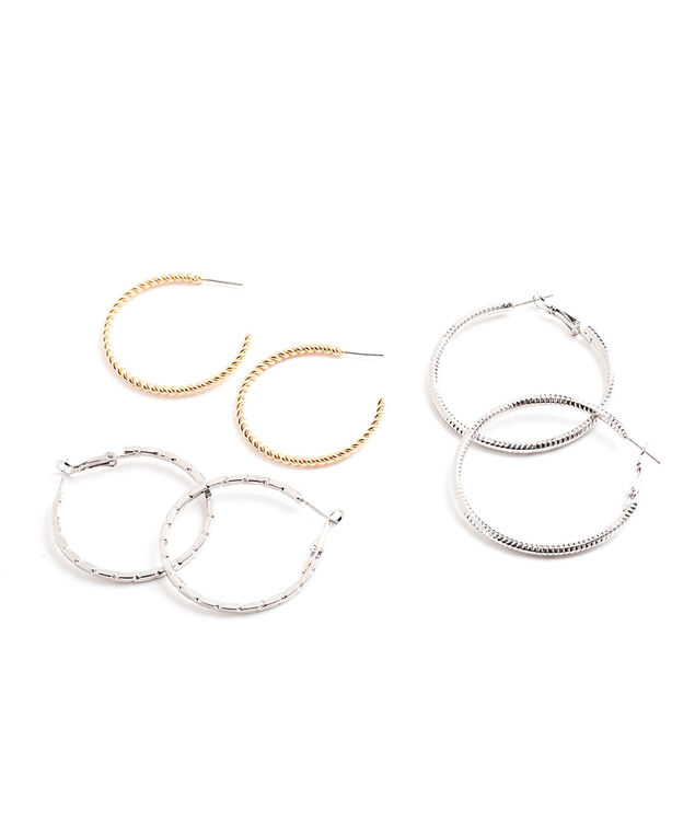 Mixed Textured Hoop 3-Pack, Gold/Rhodium