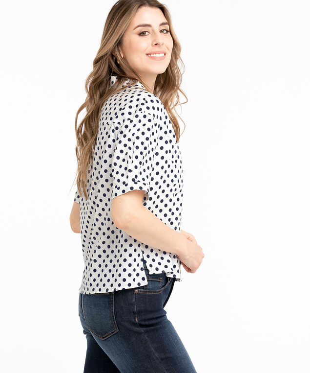 Short Sleeve Collared Button Front Blouse, Ivory/Navy Dot