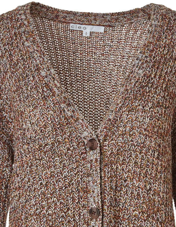 Shaker Stitch Button Front Cardigan, Coral, hi-res