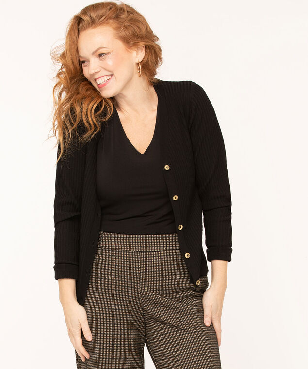 Gold Button Ribbed Cardigan, Black, hi-res