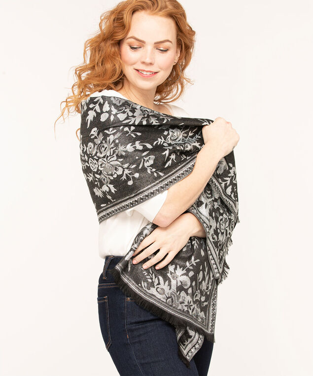 Floral Boutique Lurex Scarf, Grey/Black Mix, hi-res