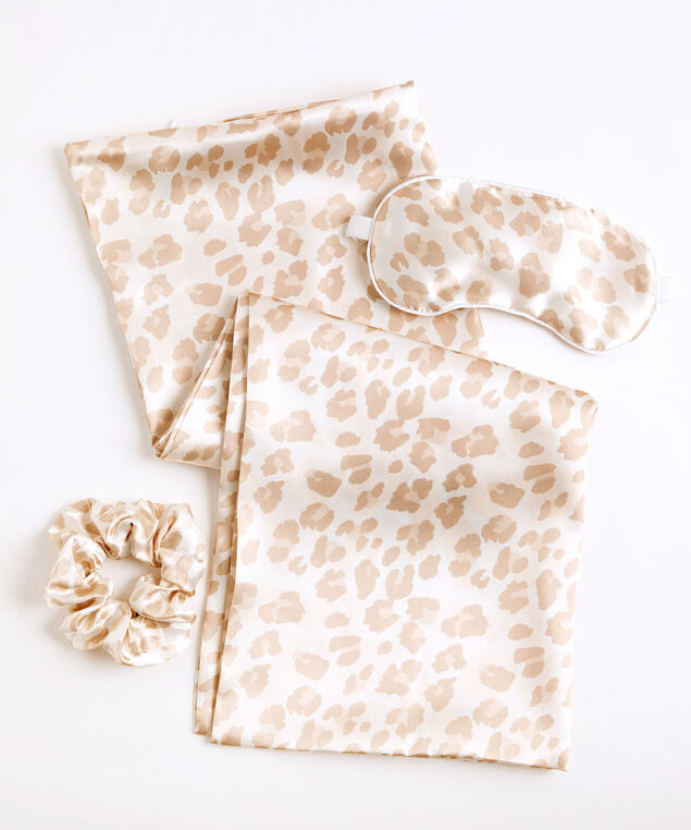 Satin Sleep Set, Beige Leopard