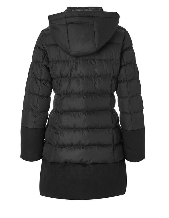 Black Faux Down Mix Jacket, Black, hi-res
