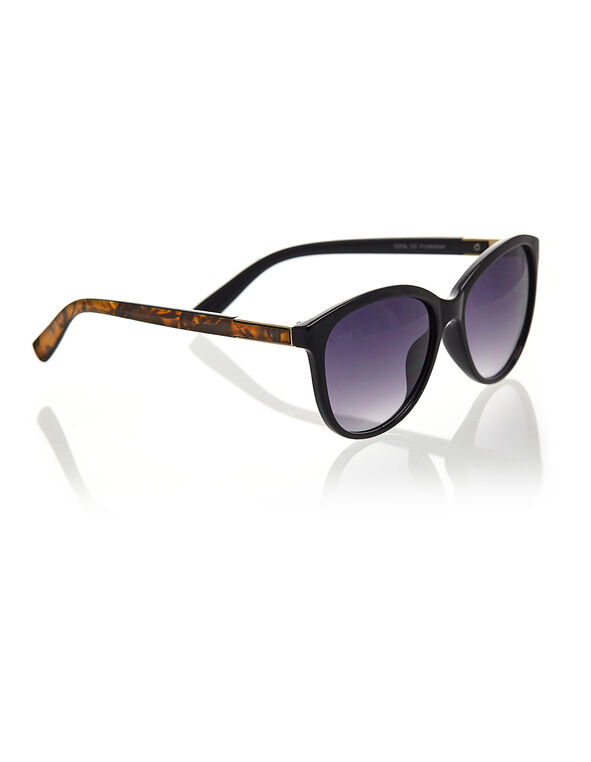 Black Medium Frame Sunglasses, Black, hi-res