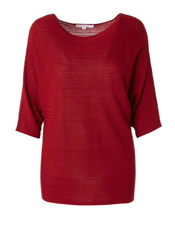 Red Ribbed Dolman Sleeve Pullover, Red, hi-res