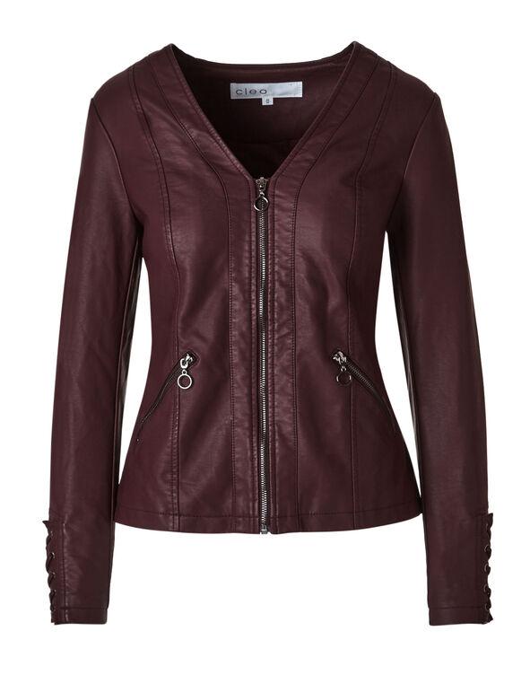Burgundy Lace Up Faux Leather Jacket, Burgundy, hi-res