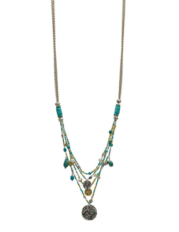 Turquoise Seed Bead Necklace, Turquoise, hi-res