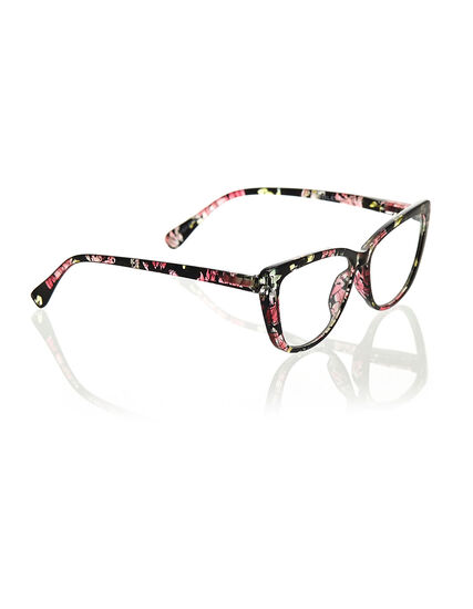 Floral Cat Eye Reader, Black, hi-res