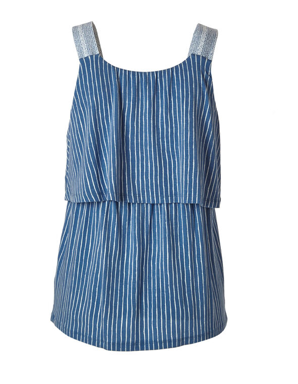 Blue Stripe Printed Top, Blue, hi-res