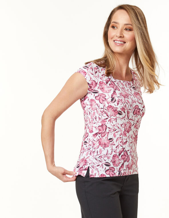 Square Neck Tee, Pink/White/Black, hi-res