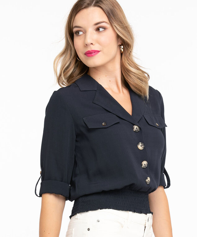 Collared 3/4 Sleeve Cropped Blouse, Navy