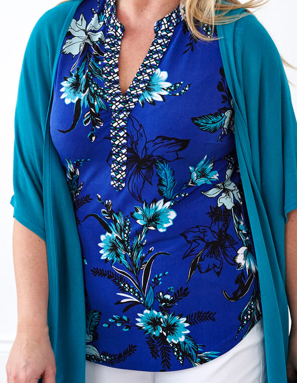 Blue Floral Printed Top, Blue, hi-res