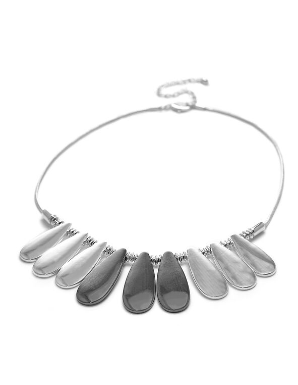 Short Silver Statement Necklace, Silver