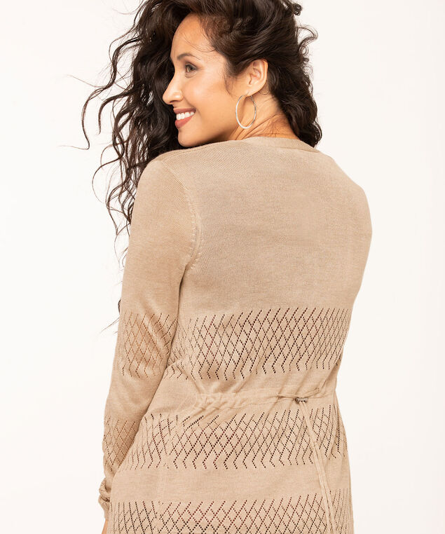 Pointelle Drawstring Long Cardigan, Tan, hi-res