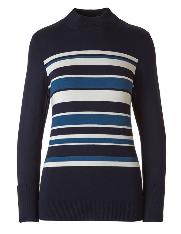 Striped Mock Neck Sweater, Navy, hi-res
