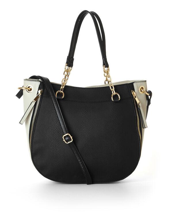 Black Round Crossbody Bag, Black, hi-res