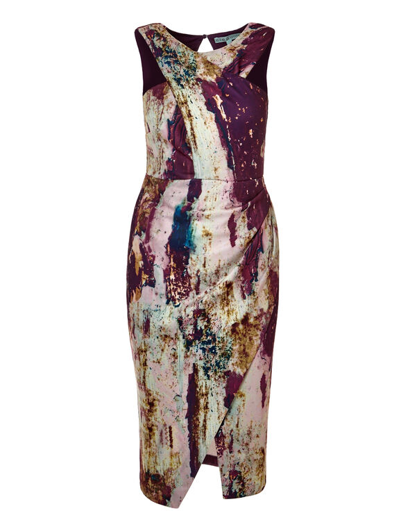 Claret Print Shift Dress, Claret/Saffron/White/Navy, hi-res