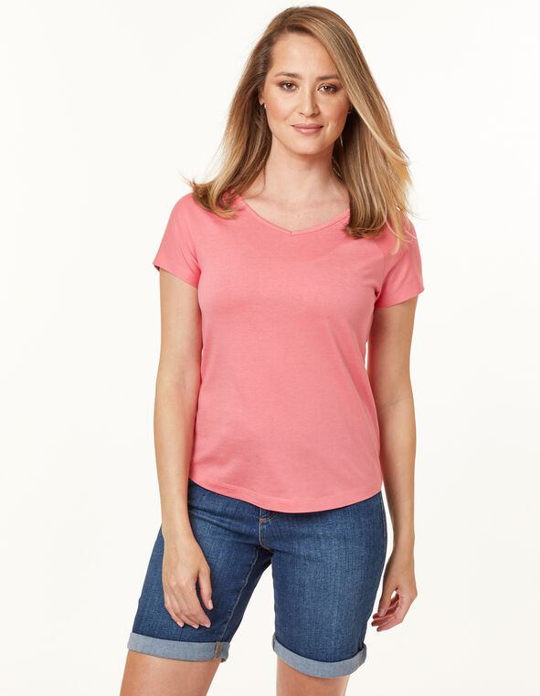 Knot Back Tee, Md Pink, hi-res