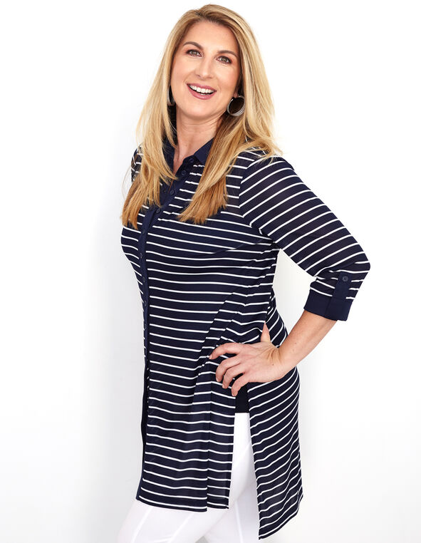 Navy Striped Mesh Tunic Top, Navy, hi-res