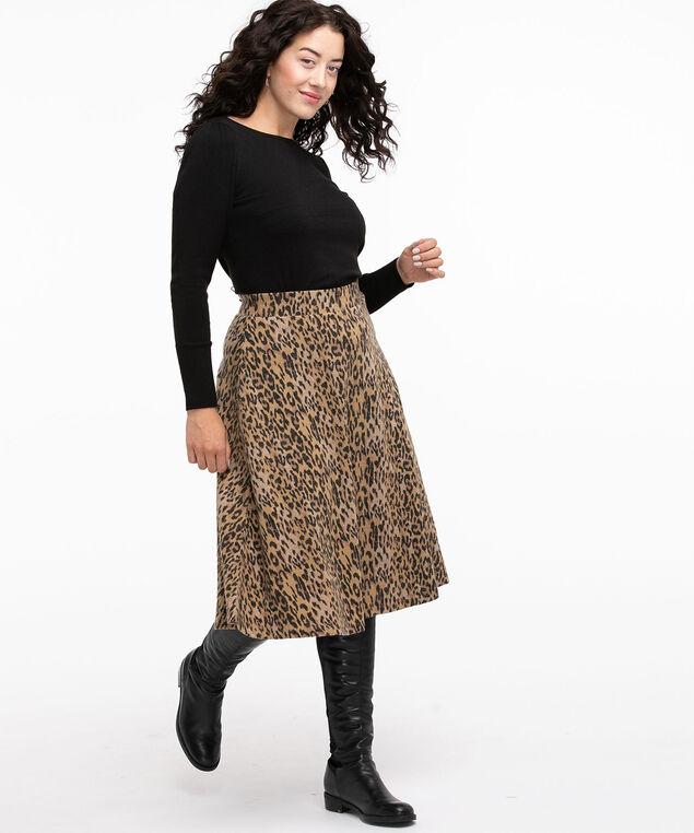 Hacchi A-Line Midi Skirt, Animal Print