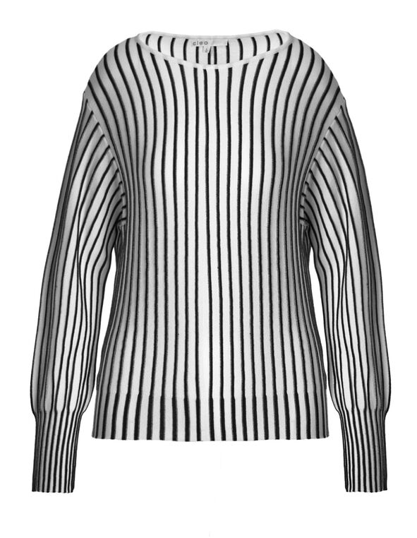 Black & White Striped Pullover Sweater, Black/White, hi-res