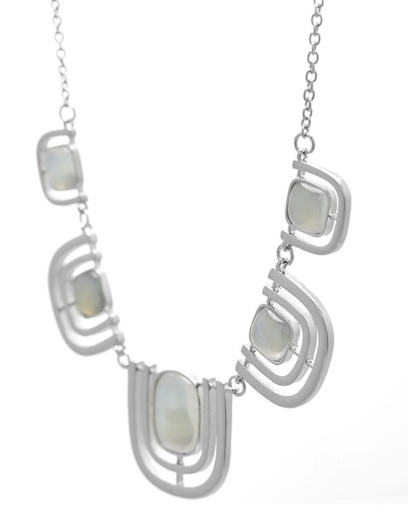 Silver Square Statement Necklace, Silver, hi-res