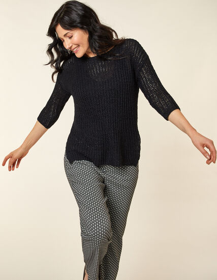 Open Knit Sweater, Black, hi-res