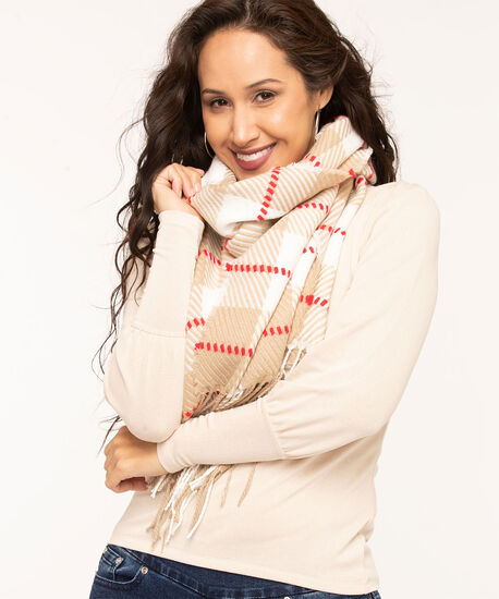 Textured Buffalo Check Scarf, Camel/Red/Ivory, hi-res