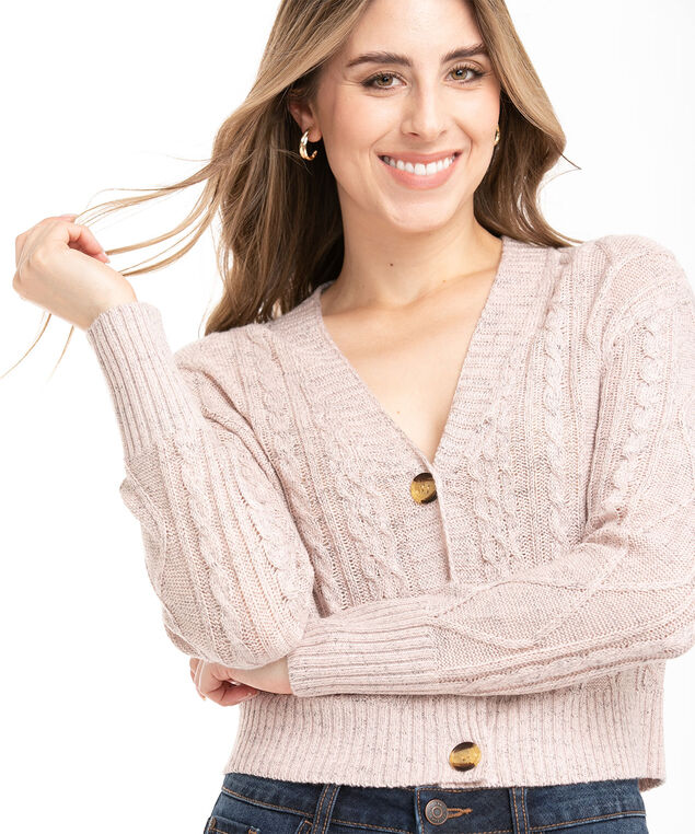 Recycled Cable Knit Cardigan, Soft Pink Mix