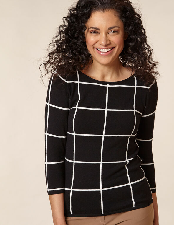 Black Windowpane Pullover Sweater, Black, hi-res