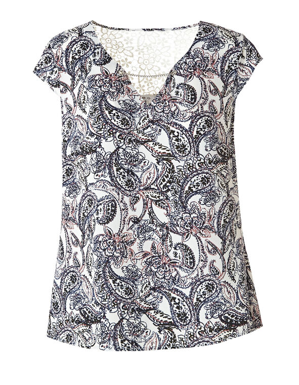 White Paisley Back Lace Detail Blouse , White, hi-res
