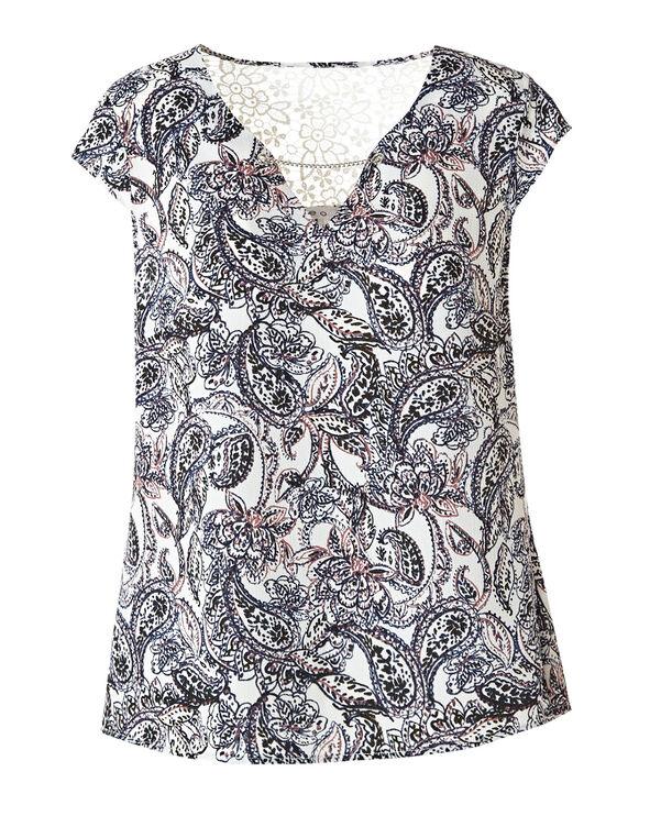 White Paisley Back Lace Detail Blouse , White, hi-res