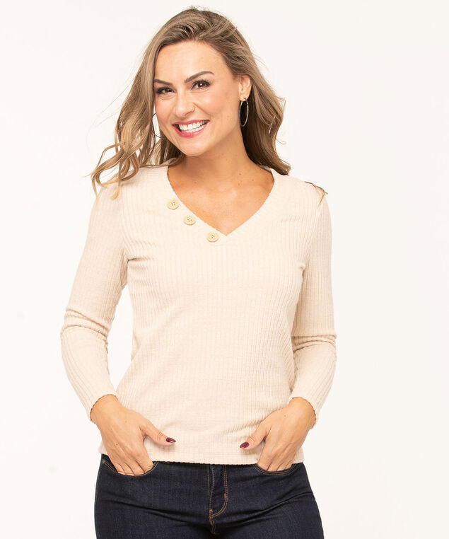 Tan V-Neck Ribbed Pullover, Tan, hi-res