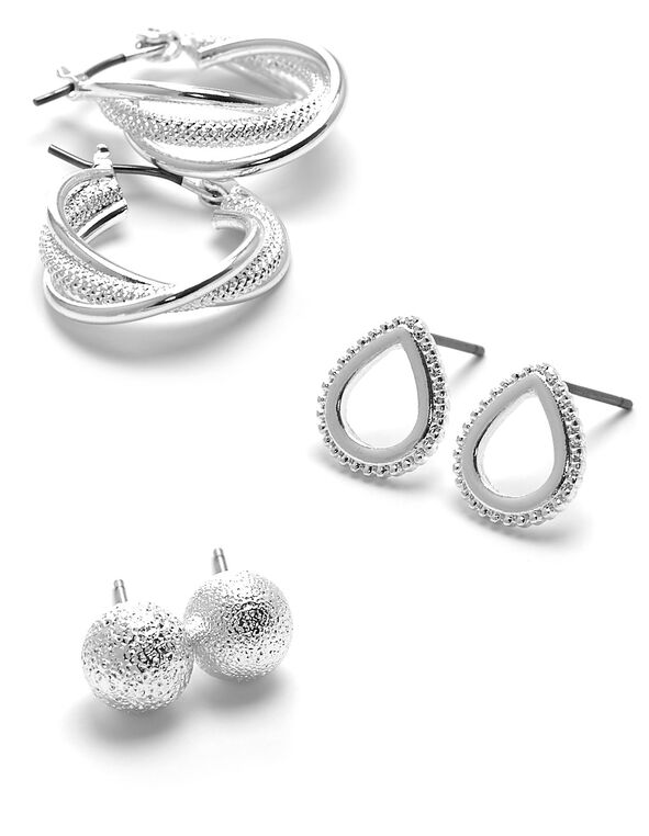 Small Silver Earring Trio Set, Silver, hi-res