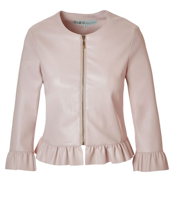 Pink Ruffle Faux Leather Jacket, Pink, hi-res