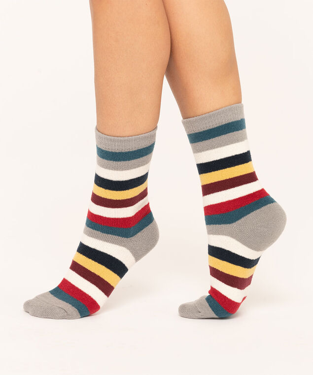 Striped Sock 2-Pack, Red/Grey/Blue/Ivory, hi-res