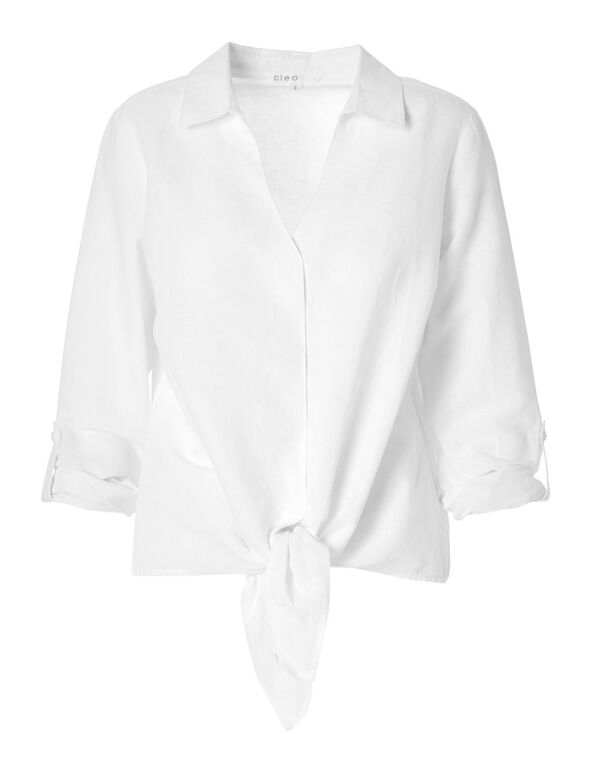 White Cotton Linen Blouse, White, hi-res