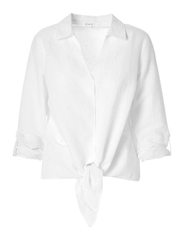 White Cotton Linen Blouse, White, hi-res