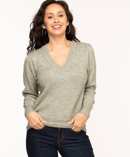 V-Neck Puff Shoulder Sweater, Sage Mix, hi-res