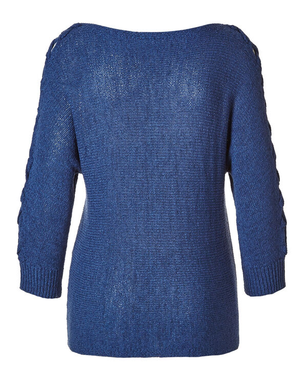 Denim Blue Tape Yarn Sweater, Denim Blue, hi-res