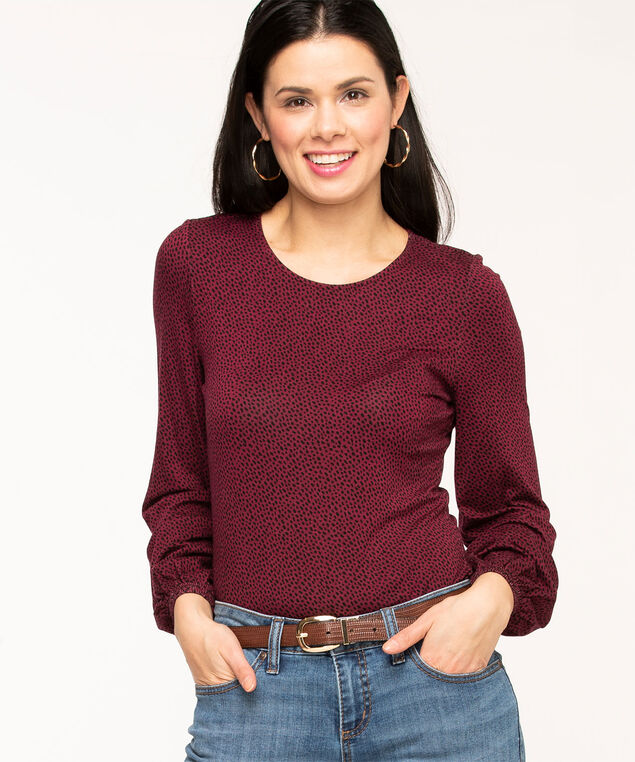 Scoop Neck Balloon Sleeve Top, Wine/Black