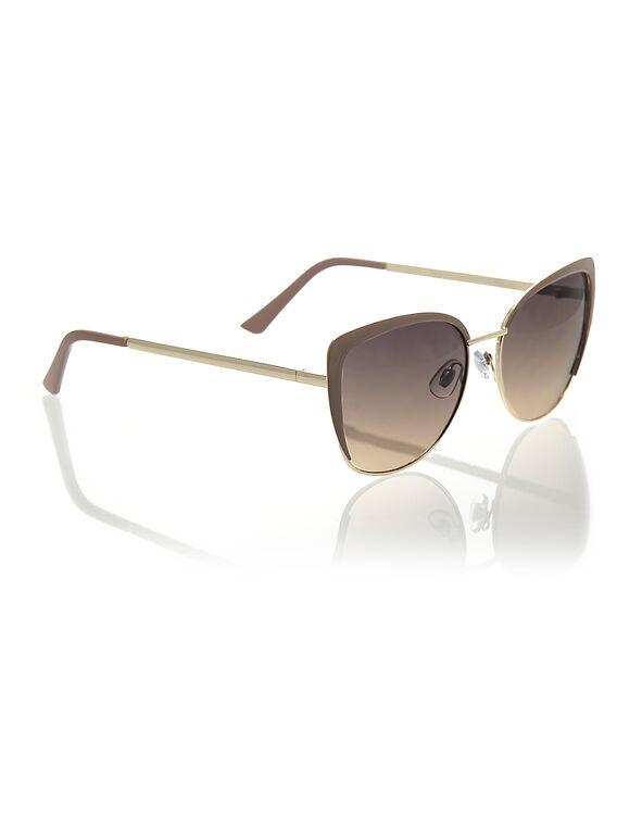 Taupe Cat Eye Metal Sunglasses, Taupe, hi-res