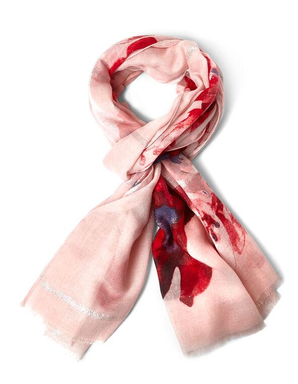 Pink Floral Lurex Scarf, Pink, hi-res